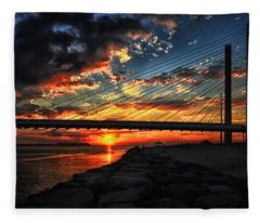Sunset Bridge At Indian River Inlet Fleece Blanket