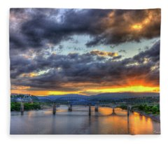 Sunset Bridges Of Chattanooga Walnut Street Market Street Fleece Blanket