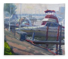 Sunset By The Boats Fleece Blanket