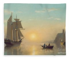 Sunset Calm In The Bay Of Fundy Fleece Blanket