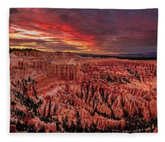 Sunset Clouds Over Bryce Canyon Fleece Blanket
