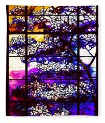Sunset Dogwoods Neo Tiffany Window Fleece Blanket