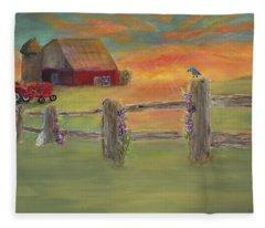 Sunset Farm Fleece Blanket