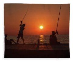 Sunset Fishermenr Fleece Blanket