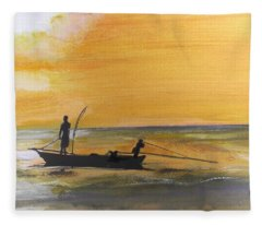 Sunset Fishing Fleece Blanket