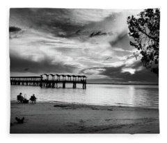 Sunset Fishing In Black And White Fleece Blanket