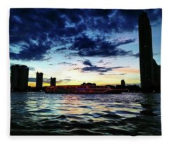 Sunset From The Boat On The Way To Fleece Blanket