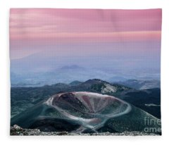 Sunset From The Top Of The Etna Fleece Blanket