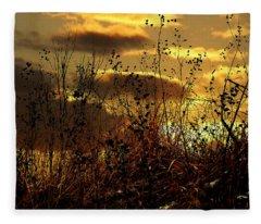 Sunset Grasses Fleece Blanket