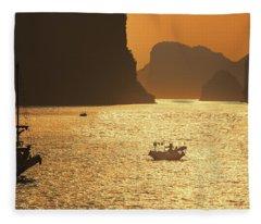 Sunset Ha Long Bay IIi Fleece Blanket