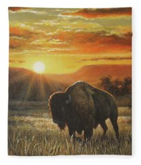 Sunset In Bison Country Fleece Blanket