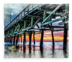 Sunset In Cherry Grove Fleece Blanket