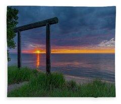 Sunset In Marquette Fleece Blanket