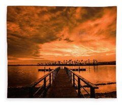Sunset In Mission Bay 7-9-17 Fleece Blanket