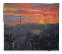 Sunset In Paris Painting Fleece Blanket