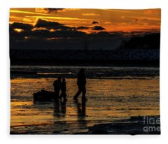 Sunset In Port Colborne Fleece Blanket