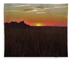 Sunset In The Badlands Fleece Blanket