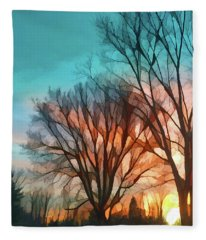 Sunset In The Country Fleece Blanket