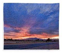 Sunset In The Desert Fleece Blanket