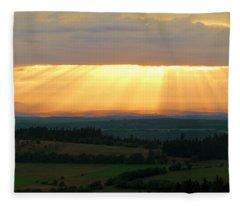 Sunset In Vogelsberg Fleece Blanket