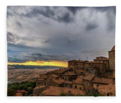 Sunset In Volterra Fleece Blanket
