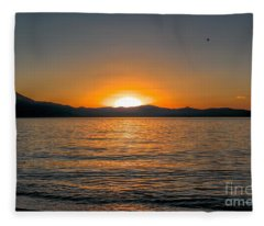 Sunset Lake 3 Fleece Blanket