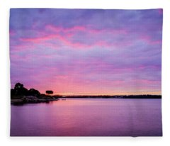 Sunset Lake Arlington Texas Fleece Blanket