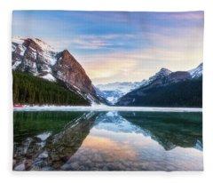 Sunset Lake Louise Fleece Blanket