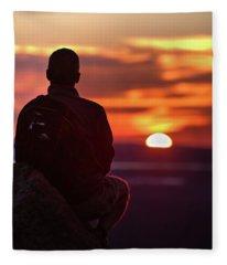 Sunset Meditation Fleece Blanket