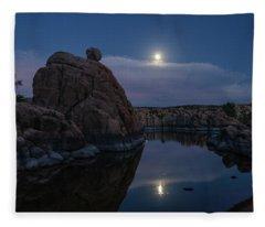 Sunset Moon Reflection Fleece Blanket