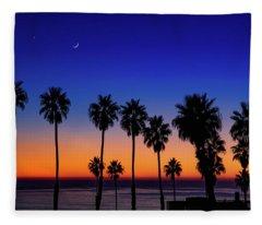 Sunset, Moon, Venus, At La Jolla Shores Fleece Blanket
