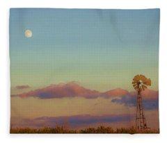 Sunset Moonrise With Windmill  Fleece Blanket