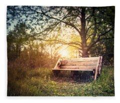 Sunset On A Wooden Bench Fleece Blanket