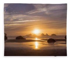 Sunset On Bandon Beach Fleece Blanket