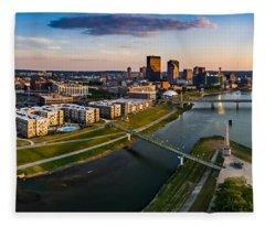 Sunset On Dayton Fleece Blanket