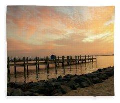 Sunset On Dewey Bay Fleece Blanket