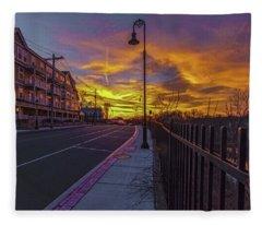 Sunset On Eliot St Milton Ma Fleece Blanket