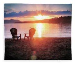 Sunset On Fourth Lake Fleece Blanket