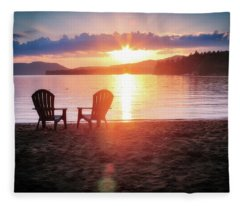 Sunset On Fourth Lake Fleece Blanket