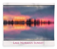 Sunset On Lake Norman Fleece Blanket