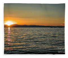 Sunset On Left Fleece Blanket