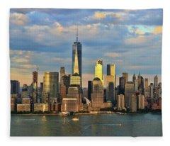 Sunset On Lower Manhattan Fleece Blanket