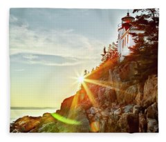 Ocean Sunset On Maine's Bass Harbor Lighthouse Fleece Blanket