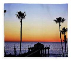 Sunset On Manhattan Beach Pier Fleece Blanket