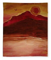 Sunset On Red Mountain Fleece Blanket