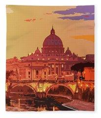 Sunset On Rome The Eternal City Fleece Blanket