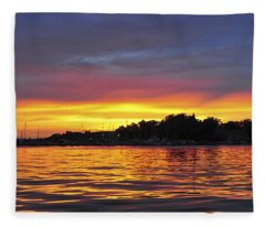 Sunset On The Bay Island Heights Nj Fleece Blanket