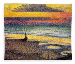 Sunset On The Beach 1891 Fleece Blanket