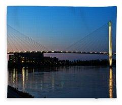 Sunset On The Bob Kerry Pedestrian Bridge Fleece Blanket