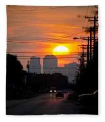 Sunset On The City Fleece Blanket